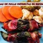 Comunidad  Receta Paleo: Tiras de Pollo Envueltas Con Espinacas y Bacon